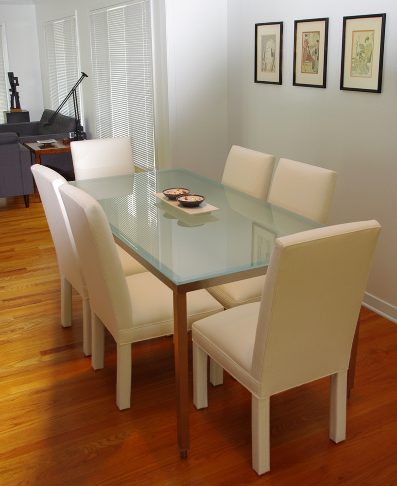 modern ikea frosted glass dining table