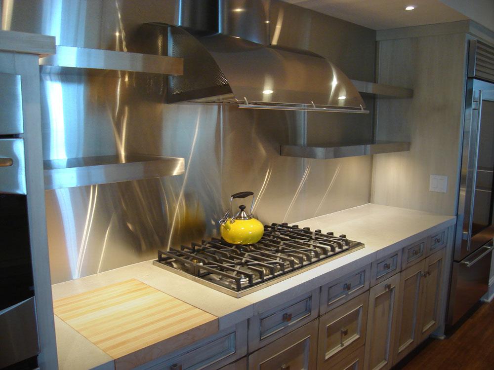 Kitchen backsplash stainless steel tiles